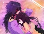 1boy 1girl bare_shoulders bed black_hair breasts hair_over_one_eye long_hair mao_(expuella) rokurou_rangetsu sleeping smile tales_of_(series) tales_of_berseria velvet_crowe very_long_hair