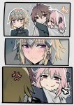 1girl 2boys anger_vein arms_around_neck black_shirt blonde_hair blush blush_stickers brown_eyes brown_hair cape comic commentary_request fate/apocrypha fate_(series) fur_trim hair_between_eyes hair_intakes hair_ornament hair_ribbon jeanne_alter long_sleeves looking_away multiple_boys pink_hair ribbon rider_of_black ruler_(fate/apocrypha) shirt sieg_(fate/apocrypha) smug translation_request trembling walzrj