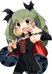 1girl absurdres anchovy bangs barashiya bat black_dress black_legwear black_ribbon cape choker cowboy_shot detached_sleeves dress drill_hair eyebrows_visible_through_hair eyes_visible_through_hair fang fingernails girls_und_panzer green_hair hair_ribbon halloween_costume highres lace-up long_fingernails long_hair looking_at_viewer moon mouth_pull nail_polish night night_sky open_mouth pantyhose red_choker red_eyes red_nails ribbon ribbon_choker sky sleeveless sleeveless_dress solo spaghetti_strap standing twin_drills twintails vampire_costume