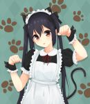 1girl alternate_costume animal_hood apron argyle argyle_background black_bow black_hair bow brown_eyes cat_hood cat_tail enmaided hair_bow hijouguti hood k-on! long_hair looking_at_viewer maid maid_apron maid_headdress nakano_azusa paw_pose paw_print_pattern standing tail twintails wrist_cuffs