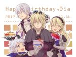 1girl 3boys armor blonde_hair blush butler cape closed_eyes father_and_son female_my_unit_(fire_emblem_if) fire_emblem fire_emblem_if gloves grey_hair hairband hiyori_(rindou66) joker_(fire_emblem_if) kanna_(fire_emblem_if) long_hair looking_at_viewer low_ponytail mother_and_son multiple_boys my_unit_(fire_emblem_if) open_mouth pointy_ears ponytail short_hair simple_background smile solo violet_eyes white_hair