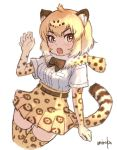 1girl animal_ears blonde_hair bow bowtie breast_pocket brown_neckwear claw_pose elbow_gloves eyebrows_visible_through_hair fur_collar gloves hand_up high-waist_skirt jaguar_(kemono_friends) jaguar_print kemono_friends legs_together looking_at_viewer pocket shirt short_hair signature simple_background skirt slit_pupils solo tail thigh-highs umiroku upper_body white_background white_shirt yellow_eyes