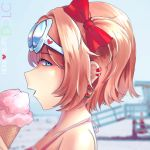 1girl bare_shoulders beach blue_eyes blurry blurry_background bow brown_hair collarbone doki_doki_literature_club earrings eating eyebrows_visible_through_hair eyewear_on_head facing_to_the_side food hair_bow hannah_santos heart highres ice_cream jewelry looking_at_viewer open_mouth pink_shirt red_bow sayori_(doki_doki_literature_club) shirt short_hair solo teeth upper_body upper_teeth