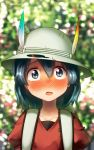 1girl backpack bag black_eyes black_hair blurry blurry_background blush bucket_hat commentary_request depth_of_field hair_between_eyes hat hat_feather highres kaban_(kemono_friends) kemono_friends looking_at_viewer open_mouth outdoors red_shirt shirt short_hair solo sweat upper_body wavy_hair welt_(kinsei_koutenkyoku)