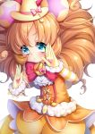1girl blue_eyes blush bow brooch brown_hair chiyonekoko cure_mofurun detached_sleeves fighting_stance frills gloves hat heart jewelry long_hair long_sleeves mahou_girls_precure! mini_hat mini_witch_hat orange_hair pink_bow precure puckered_lips puffy_short_sleeves puffy_sleeves short_sleeves solo star_in_eye striped_sleeves suspenders v-shaped_eyebrows white_background witch_hat yellow_bloomers yellow_gloves yellow_hat