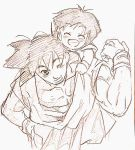 1boy 1girl closed_eyes dragon_ball dragonball_z eyebrows_visible_through_hair fukuko_fuku grandfather_and_granddaughter hug hug_from_behind looking_at_another monochrome one_eye_closed open_mouth pan_(dragon_ball) short_hair simple_background son_gokuu wristband