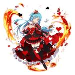 1girl asuna_(sao-alo) blue_eyes blue_hair breasts card choker cleavage crown dress fire floating_hair full_body head_tilt heart long_hair looking_at_viewer medium_breasts mini_crown one_leg_raised pointy_ears red_dress red_legwear short_dress simple_background smile solo sparkle sword_art_online thigh-highs very_long_hair white_background