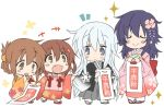 4girls akatsuki_(kantai_collection) bag black_hair blue_eyes blush_stickers brown_eyes brown_hair chibi closed_eyes hibiki_(kantai_collection) hizuki_yayoi ikazuchi_(kantai_collection) inazuma_(kantai_collection) japanese_clothes kantai_collection kimono long_hair multiple_girls open_mouth shichi-go-san short_hair silver_hair simple_background smile white_background