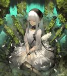 1girl bangs closed_eyes closed_mouth dated dress eyebrows_visible_through_hair feathers grey_hair grey_legwear head_scarf highres long_hair original outdoors overgrown pond rayvon sitting sleeves_past_elbows solo white_dress yokozuwari