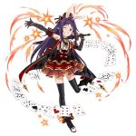 1girl ;d animal_ears ankle_bow ankle_ribbon black_gloves black_legwear bow cape card elbow_gloves fake_animal_ears gloves grin hat holding holding_sword holding_weapon layered_skirt long_hair one_eye_closed one_leg_raised open_mouth outstretched_arm pointy_ears purple_hair rabbit_ears ribbon shirt simple_background skirt sleeveless sleeveless_shirt smile solo standing standing_on_one_leg striped striped_legwear suspender_skirt suspenders sword sword_art_online thigh-highs vertical-striped_legwear vertical_stripes very_long_hair violet_eyes weapon white_background white_shirt yuuki_(sao)