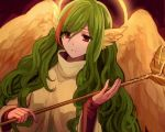 1girl angel_wings bangs breasts closed_mouth dress elona eyebrows eyebrows_visible_through_hair eyelashes eyes_visible_through_hair feathered_wings feathers fingernails goddess green_hair hair_between_eyes halo head_wings holding holding_staff jure_of_healing kinu_doufu large_breasts long_hair multicolored_hair orange_hair red_background red_eyes sidelocks sleeves_past_wrists solo staff streaked_hair swept_bangs tareme turtleneck two-tone_hair upper_body very_long_hair wavy_hair wide_sleeves wings yellow_dress yellow_wings