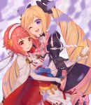 2girls armor blonde_hair blush elise_(fire_emblem_if) fire_emblem fire_emblem_if gloves hair_ornament hairband japanese_clothes long_hair looking_at_viewer multiple_girls open_mouth pink_hair red_eyes redhead sakura_(fire_emblem_if) short_hair smile transistor