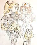 2girls barbara_parker candy commentary_request demon_horns demon_wings fake_horns fake_wings food halloween halloween_costume hanna_england hat highres horns jack-o'-lantern little_witch_academia lollipop miyazaki_shiori multiple_girls nurse nurse_cap pantyhose sketch torn_clothes torn_pantyhose wings zombie