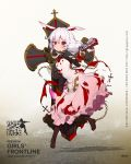 1girl animal_ears artist_request bangs benghuai_xueyuan black_legwear blush boots brown_footwear chains character_name closed_mouth copyright_name crossover dress eyebrows_visible_through_hair full_body girls_frontline gun hand_up handgun highres holding holding_gun holding_weapon long_hair looking_at_viewer official_art pantyhose pink_dress pistol shadow silver_hair solo theresa_apocalypse torn_clothes torn_dress violet_eyes watermark weapon web_address