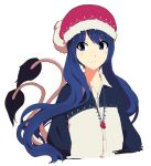 1girl alternate_costume alternate_hair_length alternate_hairstyle blouse blue_eyes blue_hair closed_mouth doremy_sweet hat highres jewelry long_hair looking_at_viewer multiple_tails nightcap pendant red_hat shishi_osamu simple_background solo tail tapir_tail touhou unbuttoned upper_body very_long_hair white_background white_blouse wing_collar