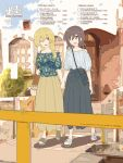 2girls alternate_costume bag bare_shoulders blonde_hair blouse brown_eyes brown_hair floral_print hand_holding handbag highres kyoto long_hair maribel_hearn multiple_girls no_hat no_headwear off-shoulder_shirt one_eye_closed open_mouth real_world_location shirt short_hair skirt smile tokoroten_(hmmuk) touhou usami_renko yellow_eyes