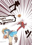 2boys blonde_hair deadpool gloves halloween jewelry kaidou_mitsuki link long_hair male_focus marvel multiple_boys nintendo pointy_ears pumpkin the_legend_of_zelda the_legend_of_zelda:_breath_of_the_wild white_background