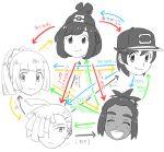 2girls 3boys baseball_cap beanie black_hair black_hat brother_and_sister closed_eyes dark_skin dark_skinned_male gladio_(pokemon) hat hau_(pokemon) lillie_(pokemon) long_hair mizuki_(pokemon_sm) multiple_boys multiple_girls open_mouth pokemon pokemon_(anime) pokemon_(game) pokemon_sm ponytail short_hair short_ponytail siblings smile translation_request tshr you_(pokemon_sm)