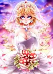 1girl absurdres blonde_hair blue_eyes breasts bridal_veil dress gloves hat highres invidiata jewelry long_hair looking_at_viewer mario_(series) piranha_plant princess_peach solo super_mario_bros. super_mario_odyssey veil wedding_dress white_gloves