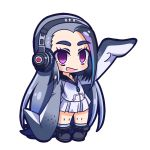 1girl :d black_hair blue_hair blush chibi full_body giant_penguin_(kemono_friends) headphones jacket kemono_friends long_hair looking_at_viewer multicolored_hair nanarokushiki no_nose open_mouth silver_hair simple_background skirt sleeves_past_wrists smile solo thick_eyebrows very_long_hair violet_eyes white_background