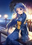 1girl :d ahoge backlighting beads bench blue_eyes blue_hair blue_kimono blush bow bridge commentary_request floral_print head_tilt highres japanese_clothes kantai_collection kimono lake lantern light long_hair long_sleeves looking_at_viewer night night_sky nyum open_mouth outdoors railing samidare_(kantai_collection) shiny shiny_hair sitting sky smile solo tareme tree twitter_username very_long_hair wide_sleeves yellow_bow yukata