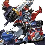 1boy 80s armor autobot blue_eyes cannon energy_gun ginrai_(transformers) glowing gun headgear insignia kouichi_(kouichi-129) looking_at_viewer machinery mechanical_wings no_humans oldschool personification pose shiny simple_background solo standing sword transformers transformers_super-god_masterforce weapon white_background wings