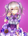 1girl candy_hair_ornament checkerboard_cookie closed_mouth cookie copyright_name cowboy_shot doughnut dress flower_knight_girl food food_themed_hair_ornament frills grey_hair hair_ornament heart_hair_ornament iberis_(flower_knight_girl) looking_at_viewer one_eye_closed purple purple_background short_hair simple_background smile solo suzume_(simple0091) twintails v violet_eyes wrist_cuffs