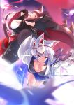 2girls absurdres akagi_(azur_lane) animal_ears azur_lane blue_eyes blurry breasts brown_hair cleavage depth_of_field fox_ears fox_mask fox_tail gloves grin highres kaga_(azur_lane) large_breasts long_hair looking_at_viewer looking_back mask multiple_girls multiple_tails outstretched_hand red_eyes silver_hair skirt smile tail takatun223
