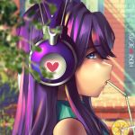 1girl bare_shoulders blurry blurry_background doki_doki_literature_club drinking drinking_straw eyebrows_visible_through_hair facing_to_the_side hannah_santos headphones highres lips long_hair looking_at_viewer looking_to_the_side purple_hair shoulderless sidelocks solo star star-shaped_pupils straw sweater symbol-shaped_pupils turtleneck turtleneck_sweater upper_body violet_eyes yuri_(doki_doki_literature_club)