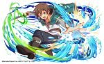 1boy brown_hair capelet crash_fever glowing kono_subarashii_sekai_ni_shukufuku_wo! looking_at_viewer official_art open_mouth satou_kazuma solo sword water weapon