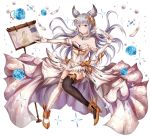 1girl animal_ears asymmetrical_clothes bangs bare_shoulders black_legwear blue_eyes blunt_bangs blush breasts dress elbow_gloves erun_(granblue_fantasy) full_body gloves granblue_fantasy hair_ornament korwa long_hair looking_at_viewer medium_breasts mismatched_legwear open-back_dress parted_lips quill silver_hair smile soda_(sodachuxd) solo thigh-highs white_legwear