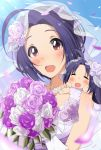 1girl ahoge blush bouquet bridal_veil chibi closed_eyes dress eyebrows_visible_through_hair flower gloves hitotsuki_nanoka idolmaster jewelry looking_at_viewer miura-san miura_azusa necklace open_mouth petals puchimasu! purple_hair red_eyes rose veil wedding wedding_dress white_gloves