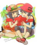 1boy 1girl backpack bag black_hair blue_shirt braid bucket_hat flower hat hat_flower long_hair mizuki_(pokemon_ultra_sm) open_mouth orange_shirt pokedex pokemon pokemon_(creature) pokemon_(game) pokemon_ultra_sm rainbow red_hat rotom rotom_dex shirt shorts siroromo sitting sun_hat tank_top twin_braids white_shorts you_(pokemon_ultra_sm)