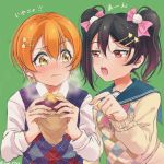 2girls argyle argyle_sweater argyle_sweater_vest bangs black_hair bow eating food hair_between_eyes hair_bow hair_ornament hairpin half-closed_eyes highres holding holding_food hoshizora_rin kino-maru_inu long_sleeves love_live! love_live!_school_idol_project multiple_girls open_mouth orange_hair pink_bow red_eyes sailor_collar short_hair star star_hair_ornament steam sweater sweater_vest sweet_potato twintails twitter_username upper_body wavy_mouth yazawa_nico yellow_eyes