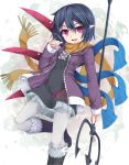 1girl asymmetrical_wings black_hair commentary_request holding holding_weapon houjuu_nue jacket looking_at_viewer open_mouth pointy_ears polearm purple_jacket red_eyes scarf short_hair touhou trident uumaru weapon wings