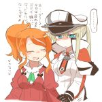 2girls aquila_(kantai_collection) blonde_hair blue_eyes graf_zeppelin_(kantai_collection) hat kantai_collection long_hair lowres multiple_girls orange_hair peaked_cap rebecca_(keinelove) short_hair translation_request