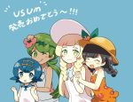 4girls black_hair blonde_hair blue_background blue_eyes blue_hair braid closed_eyes dark_skin dress flower green_eyes green_hair hair_flower hair_ornament hairband hat hat_flower lillie_(pokemon) long_hair mao_(pokemon) mizuki_(pokemon_ultra_sm) multiple_girls one_eye_closed open_mouth orange_shirt overalls pokemon pokemon_(game) pokemon_ultra_sm pukiko shirt short_hair simple_background sleeveless sleeveless_dress smile suiren_(pokemon) sun_hat tank_top trial_captain twin_braids white_dress white_hat white_shirt