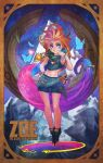 1girl absurdly_long_hair absurdres blue_hair blue_nails bracelet butterfly character_name commentary flat_chest floating freckles full_body gradient_hair heterochromia highres jewelry key league_of_legends long_hair midriff monori_rogue multicolored_hair nail_polish navel open_toe_shoes orange_hair pendant pink_hair sarong scarf shorts smile solo toenail_polish very_long_hair violet_eyes zoe_(league_of_legends)