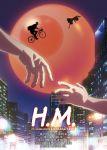 1boy 1girl bicycle billboard building copyright_name ground_vehicle hands highres hina_(hinamatsuri) hinamatsuri_(manga) key_visual night nitta_yoshifumi official_art parody