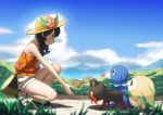1girl absurdres bag bare_arms black_hair blue_sky blurry braid clouds day depth_of_field flower from_side full_body grass hat highres kneeling litten mizuki_(pokemon_ultra_sm) nature neko_sheep ocean outdoors pokemon pokemon_(game) pokemon_ultra_sm popplio reaching_out rowlet sandals shorts sky smile solo tank_top twin_braids water white_shorts