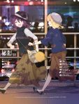 2girls alternate_costume beret blonde_hair blouse blurry bokeh bow brown_eyes brown_hair depth_of_field fedora hat hat_bow highres long_hair maribel_hearn multiple_girls open_mouth railing real_world_location reflection running shibuya_(tokyo) shirt shoes short_hair silhouette skirt smile sweater_vest tokoroten_(hmmuk) tokyo_(city) touhou train_station usami_renko walkway yellow_eyes