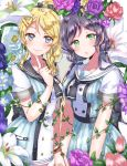 2girls ayase_eli bell blonde_hair blue_eyes bow bracelet double-breasted dress finger_to_cheek flower green_eyes hair_bell hair_bow hair_ornament hairpin hand_holding highres index_finger_raised jewelry jingle_bell kaisou_(0731waka) lily_(flower) long_hair looking_at_viewer love_live! love_live!_school_idol_project multiple_girls plant ponytail purple_hair purple_rose red_rose rose sailor_collar short_sleeves sidelocks smile toujou_nozomi twintails vines