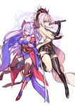 2girls black_gloves blue_eyes braid breasts cosplay costume_switch detached_sleeves doraf earrings fate/grand_order fate_(series) gloves granblue_fantasy hair_over_one_eye hong_(white_spider) horns japanese_clothes jewelry katana kimono large_breasts lavender_hair long_hair miyamoto_musashi_(fate/grand_order) multiple_girls narumeia_(granblue_fantasy) pink_hair pointy_ears ponytail single_thighhigh sword thigh-highs thigh_strap weapon