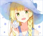 1girl alola_form alolan_vulpix bangs blonde_hair blue_ribbon blunt_bangs braid collared_dress dress flower green_eyes hakusai_(tiahszld) hat hat_ribbon lillie_(pokemon) long_hair open_mouth poke_ball pokemon pokemon_(anime) pokemon_(creature) pokemon_sm_(anime) ribbon simple_background sleeveless sleeveless_dress smile solo sun_hat sundress twin_braids upper_body white_background white_dress white_hat