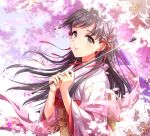 1girl bangs black_eyes black_hair blunt_bangs blush cherry_blossoms eyebrows_visible_through_hair floating_hair floral_print flower hair_ornament hair_ribbon highres holding holding_umbrella idolmaster idolmaster_cinderella_girls japanese_clothes kimono kobayakawa_sae long_hair long_sleeves looking_at_viewer obi oriental_umbrella outdoors parasol petals pink_kimono pink_umbrella plant red_ribbon ribbon sash seigaiha shawl smile tree umbrella upper_body wide_sleeves wind zattape