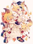 1girl acorn animal_ears autumn_leaves blonde_hair fox fox_ears fox_tail full_body hat headwear_request japanese_clothes licking_lips looking_at_viewer original paw_pose red_eyes sandals smile solo tail thigh-highs tongue tongue_out wakanagi_eku white_legwear
