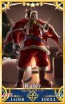 1boy bell black_sclera blue_eyes card_parody christmas_tree cloak eiri_(eirri) fate/grand_order fate_(series) fur_trim hood hooded_cloak king_hassan_(fate/grand_order) male_focus ribbon sack santa_costume servant_card_(fate/grand_order) solo