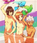 absurdres adonis_belt bracelet brown_eyes brown_hair collarbone convenient_censoring dark_skin dark_skinned_male hayami_hiro highres jewelry king_of_prism_by_prettyrhythm male_focus mihama_kouji multiple_boys navel nishina_kazuki nude pectorals pretty_rhythm pretty_rhythm_rainbow_live silver_hair smile spiky_hair toned toned_male towel yellow_eyes