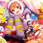1girl 2017 :d absurdres animal_hood brown_eyes dated flower fluffy fluffy_legwear hair_between_eyes happy_birthday highres hood horizontal_stripes hoshizora_rin keita_(kta0) looking_at_viewer love_live! love_live!_school_idol_project open_mouth orange_hair short_hair sitting smile solo sparkle star striped striped_armwear stuffed_animal stuffed_toy thigh-highs v yellow_eyes