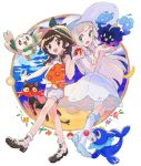 2girls :d absurdres bag bangs blonde_hair blue_sky blunt_bangs braid brown_eyes clouds cosmog dress full_body green_eyes highres lillie_(pokemon) litten mizuki_(pokemon_ultra_sm) multiple_girls open_mouth poke_ball pokemon pokemon_(game) pokemon_ultra_sm ponytail popplio rakudra rowlet school_uniform shorts skirt sky sleeveless sleeveless_dress smile sun_hair_ornament swept_bangs tank_top twin_braids white_shorts